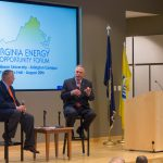 Terry McAuliffe and Michael Whatley discuss offshore energy development at CEA Southeast's candidate forum in August of 2013.