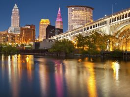 Cleveland Ohio in the evening