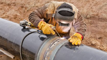 Pipeline construction with welder