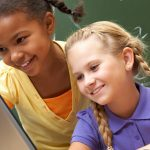 Elementary school students learning math