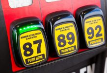 Gas station fuel pump octane
