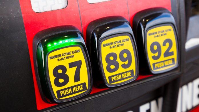 Gas station fuel pump octane