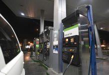 A LNG fuel pump nozzle at a LNG filling station