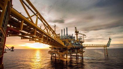 Offshore oil platform in ocean