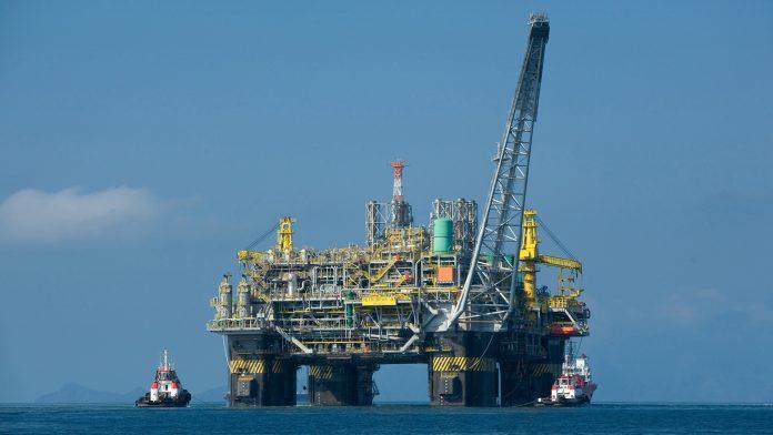 Oil rig in Atlantic Ocean