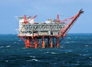 Offshore oil rig in Gulf of Mexico