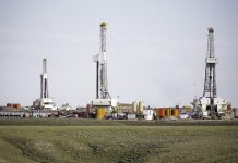 Onshore fracking well pad