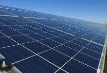 Row of solar panels on a solar farm