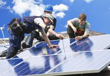 Solar panel installation on household