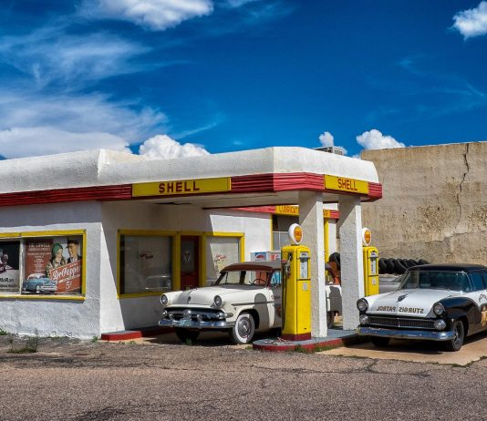 Classic Cars at Gas Station