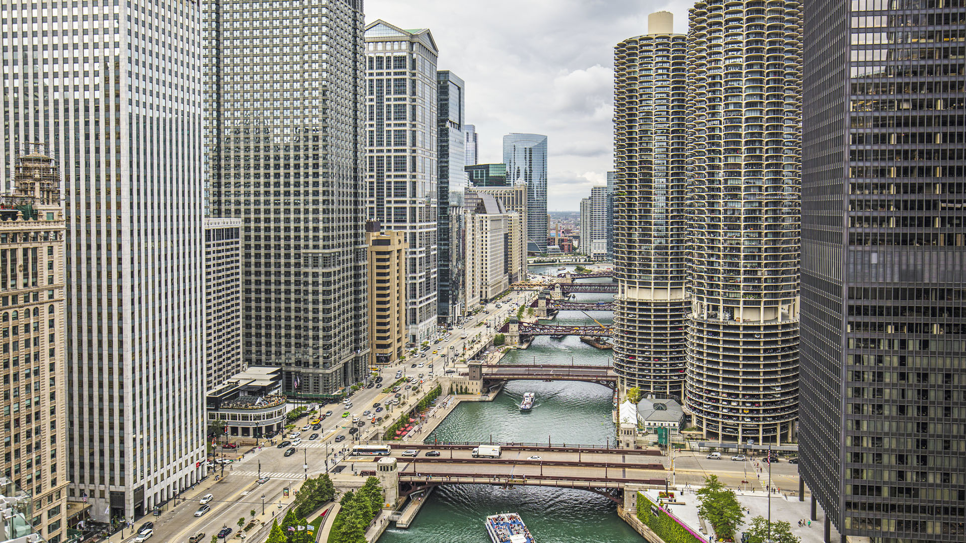 Aerial View Of Downtown Chicago River Consumer Energy