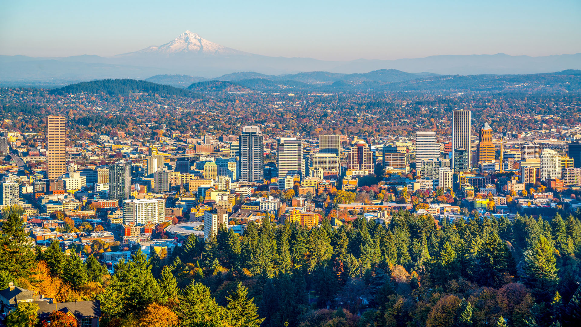 City of Portland Oregon and Mount Hood in Autumn - Consumer Energy